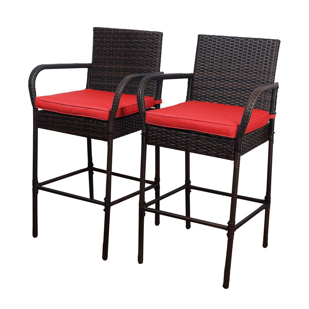 Sundale Outdoor 2 Pcs All Weather Patio Furniture Set Brown Wicker Barstool with Cushions, Back Support and Armrest (Red) by Sundale Outdoor