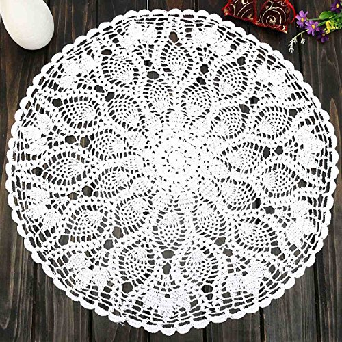 23 Round Cotton White Feather Crochet Doilies For Wedding Event Table Decor Vintage Handmade Doily Placemat Table Cloth