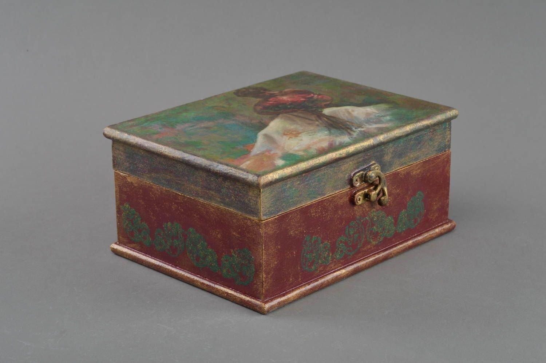Caja de madera hecha a mano en tecnica de decoupage para accesorios original: Amazon.es: Hogar