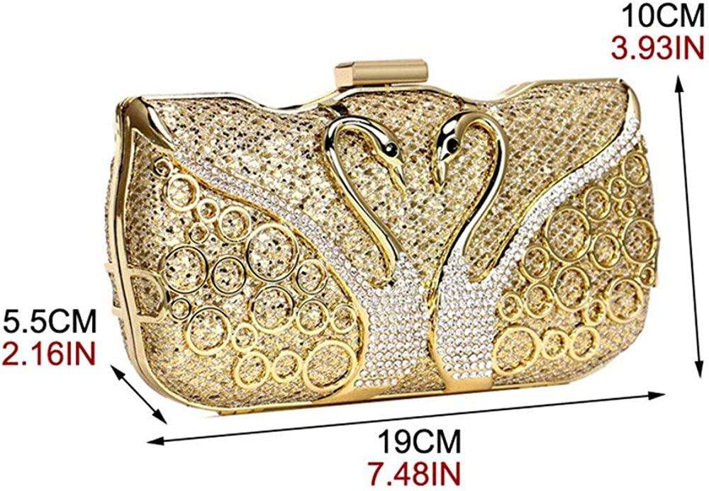 Evening Bags for Women Appearance is by Swan Patterns Clutch Bag with Rhinestone Decoration Handbag Noble Elegant Luxury Small Square Package with Shoulder Strap Chain