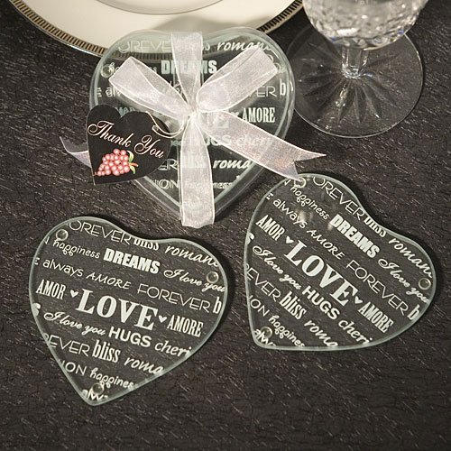 Heart Design Glass Coaster Love Wedding Favors (Set Of 2) , 72 by FavorOnline