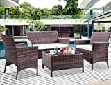 Leisure Zone 4 PCS Patio Furniture Set Outdoor Garden Conversation Wicker Sofa Set (Blue Cushion)