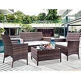 Leisure Zone 4 PCS Patio Furniture Set Outdoor Garden Conversation Wicker  Sofa (Beige Cushion)