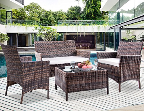 Leisure Zone 4 PCS Patio Furniture Outdoor Garden Conversation Wicker Sofa Set (Beige Cushion)