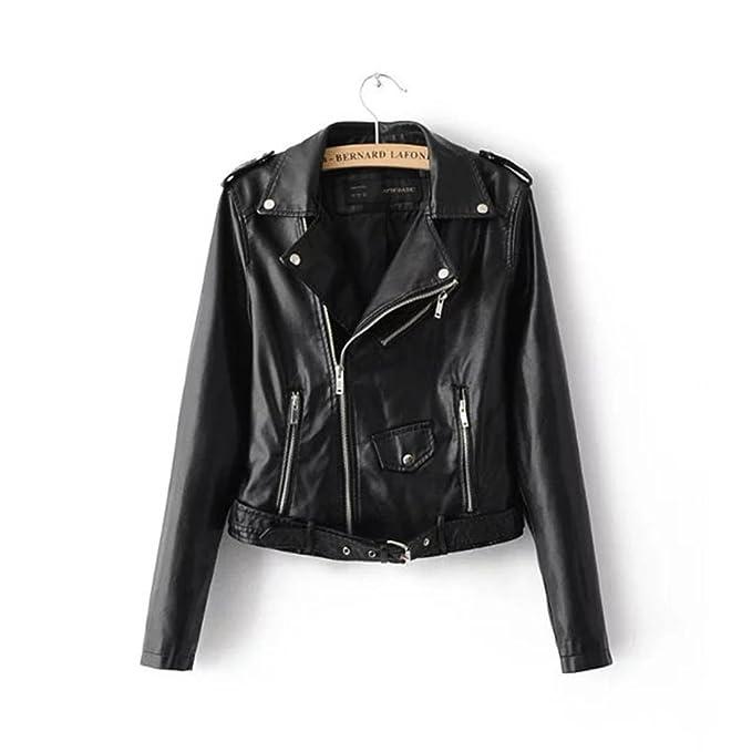 Corto las mujeres PU chaqueta de moto de cuero: Amazon.es: Ropa y accesorios