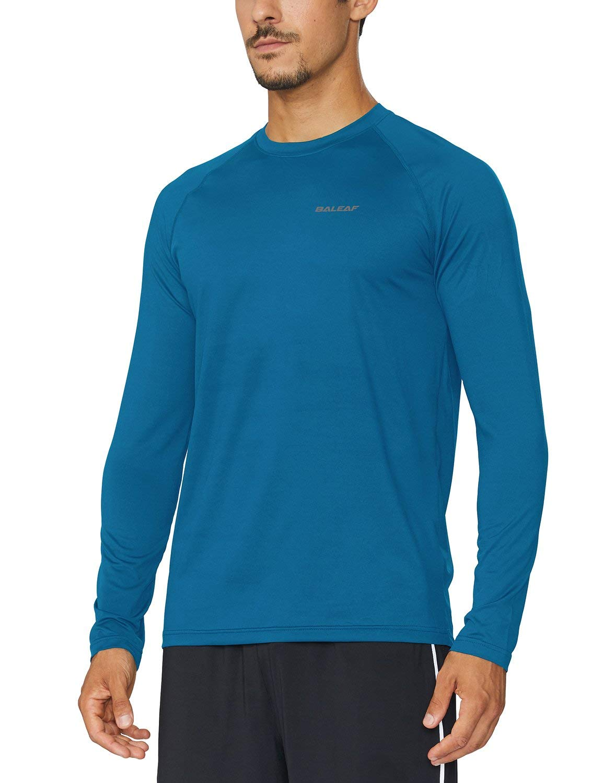 Baleaf Men's Cool Running Workout Long Sleeve T-Shirt Blue Size M by Baleaf