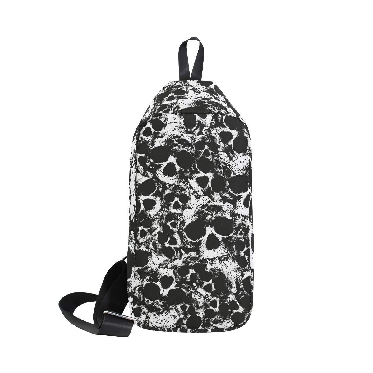 AHOMY Black And White Skull Messenger Bag Small Travel School Sling Bag Crossbody Bag