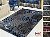 Handcraft Rugs Blue/Gray/Silver/Black Abstract Area Rug Modern Contemporary Floral and Patchwork Geometric Design for Living Room/Guest Room/Dining Room/Office Review