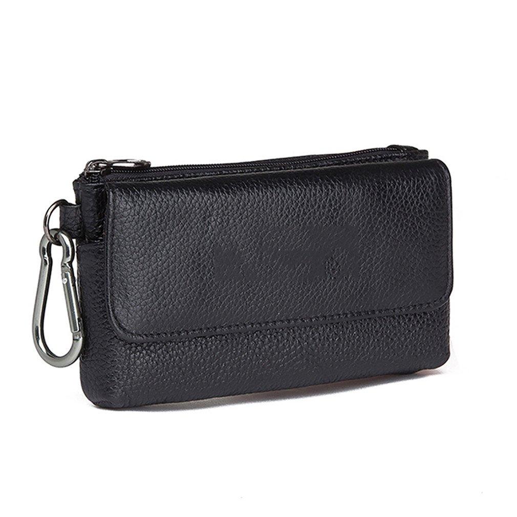 KUAISUF 本革フック ウエストパックバッグ ヒップバム 小銭入れ ポクフ 男性 携帯電話ケース カバー スキンベルトバッグ  ブラック B07DNR7S2D