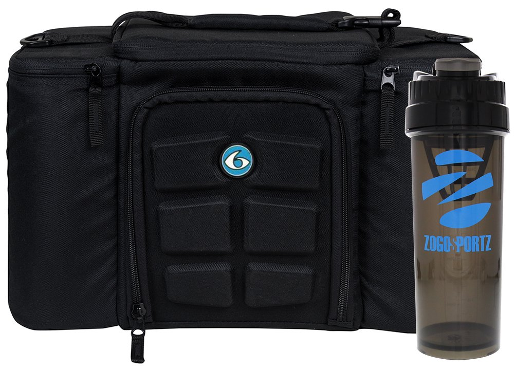 6 Pack Fitness Insulated Meal Prep Bag, Innovator 300 Black/Neon Blue (3 Meal) w/Bonus ZogoSportz Cyclone Shaker by 6 Pack Fitness