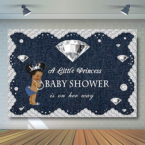 (COMOPHOTO Denim and Diamond Theme Party Photography Backdrop Little Princess Baby Shower Party Banner Backdrops 7x5ft Vinyl Printed Cake Table Decorations Photo Background)
