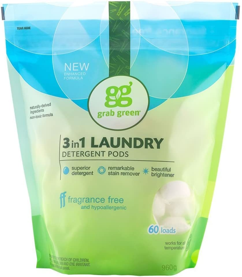 Grab Green Natural Laundry Detergent Pods - Organic, Enzyme-Powered, Plant & Mineral-Based
