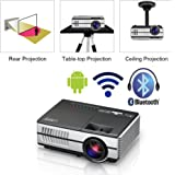 LED Projector Mini Portable with Wifi Bluetooth HDMI, HD 1080p Support Wireless Airplay LCD Android Bluetooth Projector Home Theater Built-in Speakers for Android Phone iPad Phone DVD Game Consoles