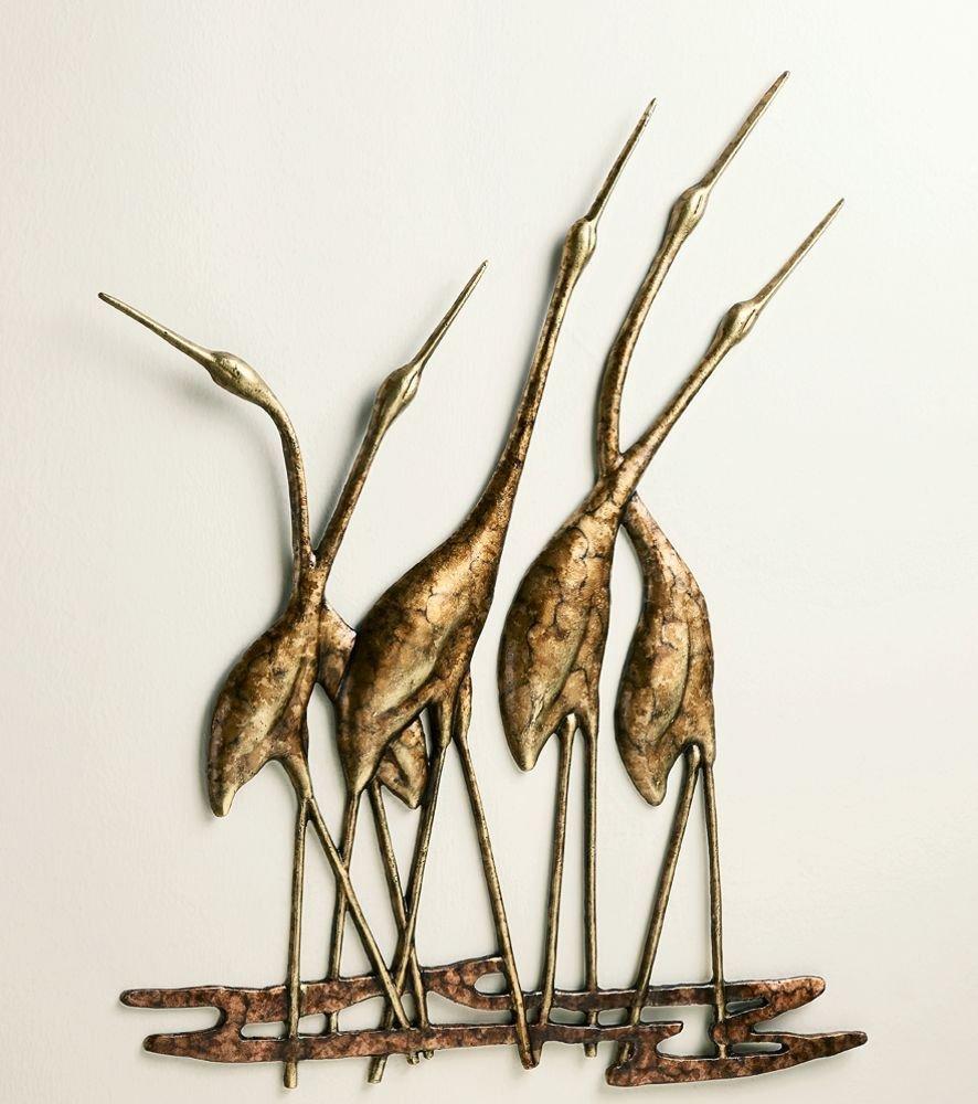 GOOD MEDIA Crane Quintet Wall Art Sculpture Metal Heron Bird Gold & Bronze Coastal Wildlife ✅