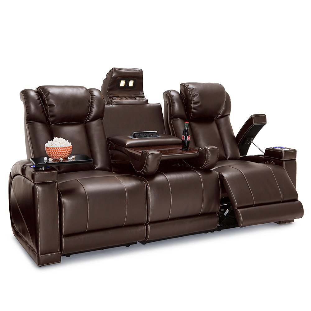 Seatcraft Sigma Home Theater Seating Sofa Leather Gel Recline with Adjustable Powered Headrests, Center Fold Down Table, Hidden in-Arm Storage, AC USB Charging, and Lighted Cup Holders, Brown by Seatcraft