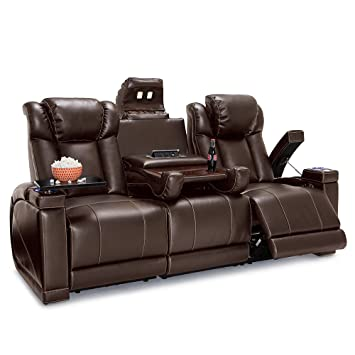 Lane Sigma Leather Gel Home Theater Power Recline Multimedia Sofa With  Fold Down Table (