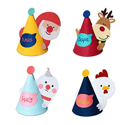 bdb17868e12b8 Image Unavailable. Image not available for. Color  BEFULY Children s  Christmas Hats Cute DIY Santa ...