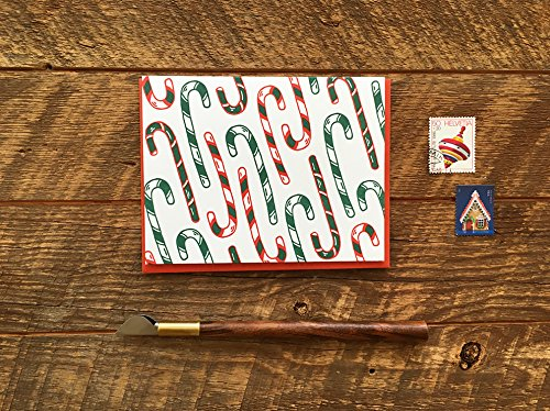 Holiday Candy Canes, Holiday Cheer Letterpress Christmas Card, Single Card, Blank Inside (Cane Blank)