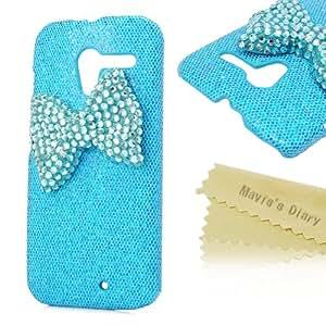 Mavis's Diary for Motorala Moto X Phone 3D Handmade Fashion Bling Crystal Green Bow Diamond Design Rhinestone Bling Green Hard Cover Case with Soft Clean Cloth