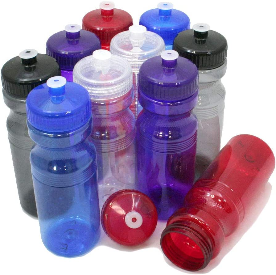 Rolling Sands 24 Ounce BPA-Free Plastic Water Bottles, Set of 10, Made in USA