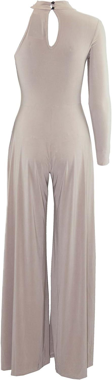 Be Jealous Womens High Polo Neck Keyhole Cut Pants Jumpsuit