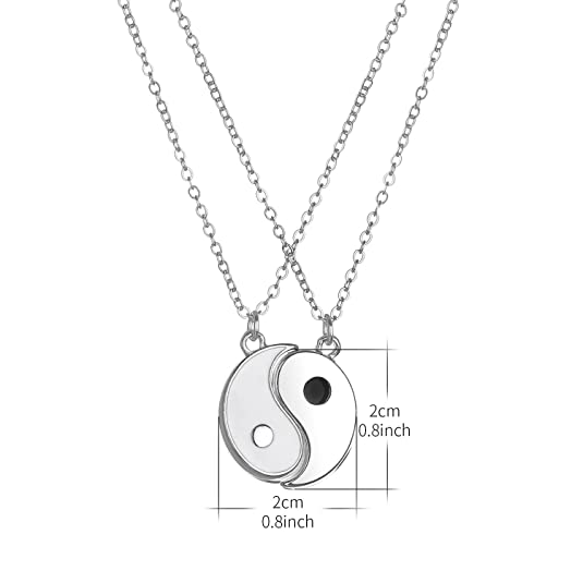 Lux Accessories Ying Yang Twins Emoji Symbol BFF Pendent