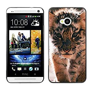FlareStar Colour Printing Tiger Cub Roar Cute Puppy Animal Furry cáscara Funda Case Caso de plástico para HTC One M7