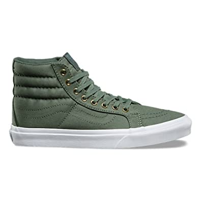 be79043b83 Image Unavailable. Image not available for. Color  Vans Sk8 Hi Slim Mens 8  Womens 9.5 Gold Eyelets Laurel Green Skateboarding Shoes