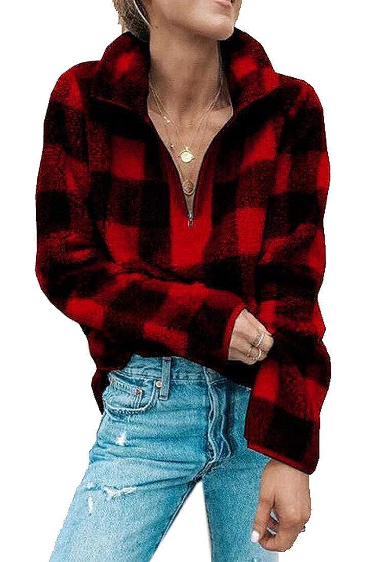 Jofemuho Womens Plaid Zip Front Fluffy Turtle Neck Faux Fur Pullover Sweatshirts