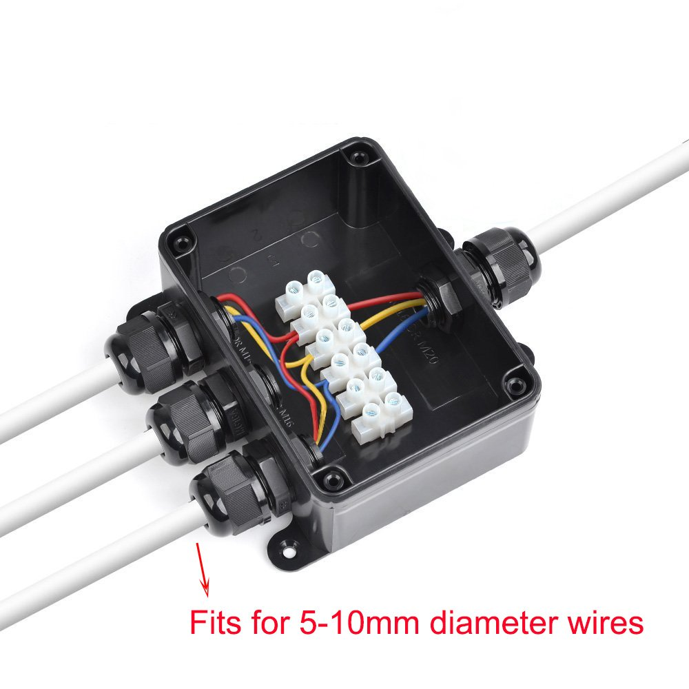 M16 Cable gland ? 5mm-10mm K-Bright External cable connector water-proof IP66 Junction box black larger 4-way connection socket Earth cable Terminal box Cable sleeve