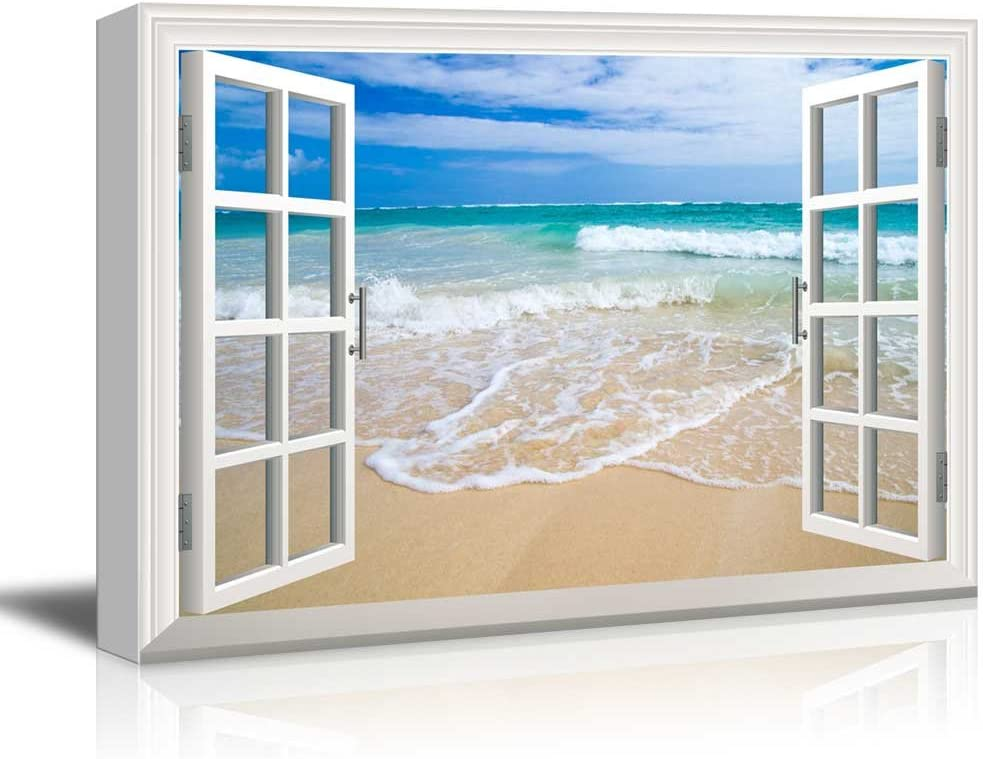 Canvas Print Wall Art - Window Frame Style Wall Art - Beach and Clear Wave | Giclee Print Gallery Wrap Modern Home Decor. Stretched & Ready to Hang - 24