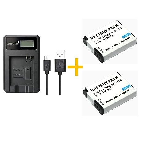 2 Piezas 1350 mAh BCM13 Batería con LCD Cargador de batería Individual para Panasonic Lumix ZS40 / TZ60, ZS45 / TZ57, ZS50 / TZ70, ZS27 / TZ37 y TZ41 ...