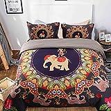 Prom Bedding Microfiber 3pc Elephant Monkey Duvet Cover Set India Mandala Bohemian Design Bedding Set Queen Size Reveisible