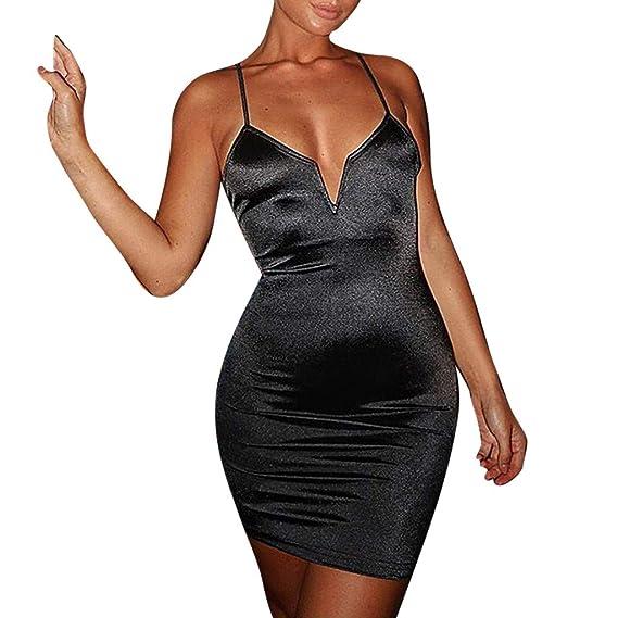 VECDY Vestido de Mujer Sexy con Cuello en V Profundo Halter sin ...