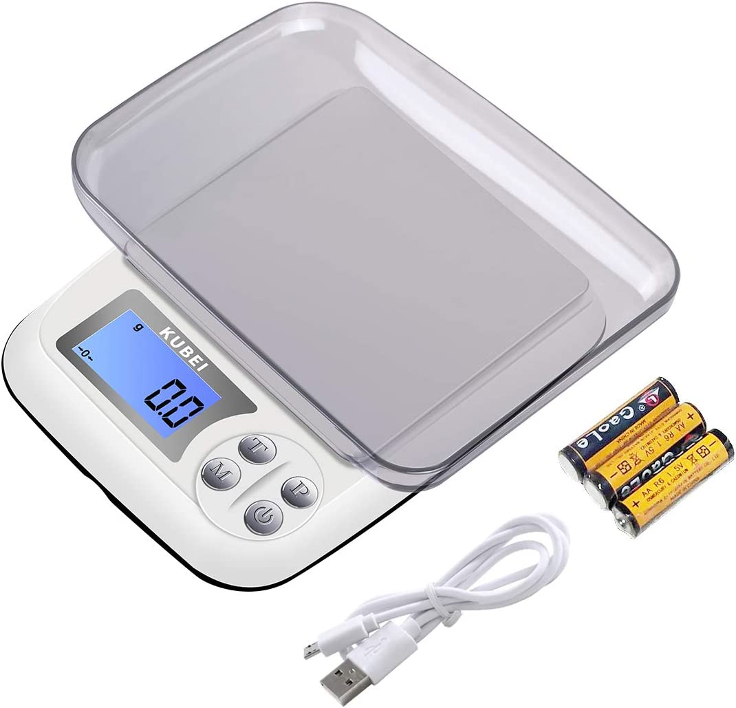 KUBEI Food Scale USB Rechargeable Digital Kitchen Scale, 3kg0.1g Weight Grams and oz for Cooking Baking Jewellery Scale