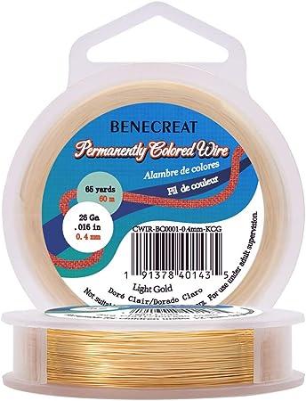 Imagen deBENECREAT 60m 0.4mm Alambre de Cobre (Oro Claro) Cable Metálico Accesorios de manualidad para Diseño de Bisutería