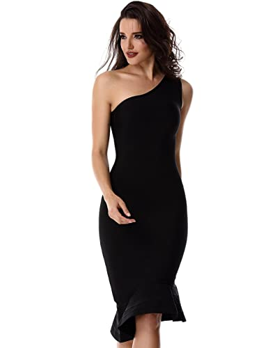 Adyce Bandage-Dress-Sexy-Vestito Donna nero per matrimonio midi / cocktail / partito / club indossar...