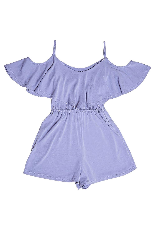 Poshsquare Big Girls Ruffle Overlay Jersey Knit Soft One Piece Romper CP2904JSE