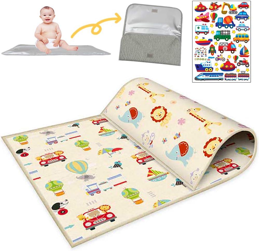 Buyger Alfombra para niños de Juegos Bebé Alfombrilla Plegable Impermeable Manta de Doble Cara Dirt-Proof Picnic Blanke Infantil Colchoneta 200 * 180 cm