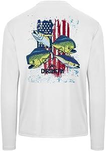 Chasing Fin American Flag Tuna and Mahi Offshore Peformance Fishing Shirt UPF 50+