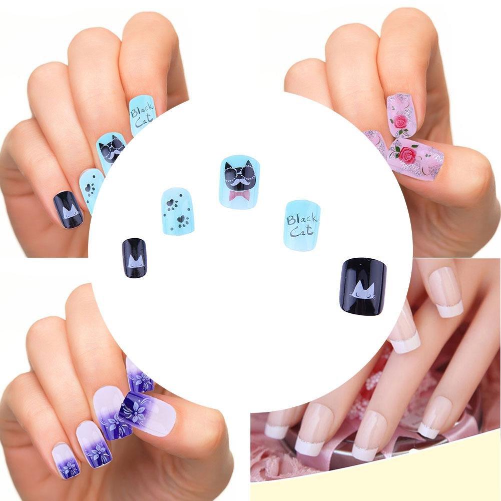Gowind6 - Set de 24 uñas postizas para pintar uñas, diseño de dibujos animados (01): Amazon.es: Belleza
