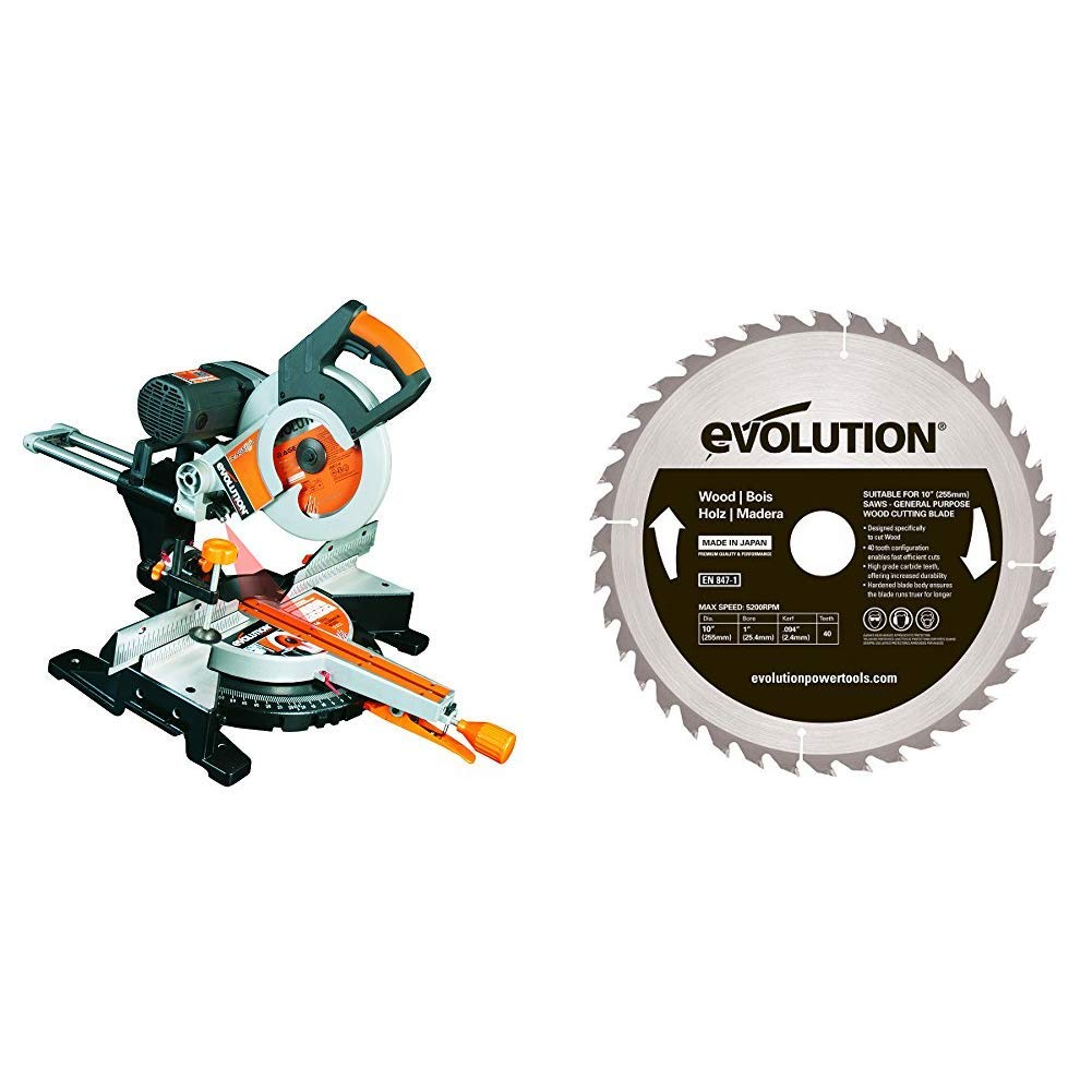 255 mm 110 V Evolution Power Tools Rage 3-DB Double Bevel Multi-Purpose Sliding Mitre Saw