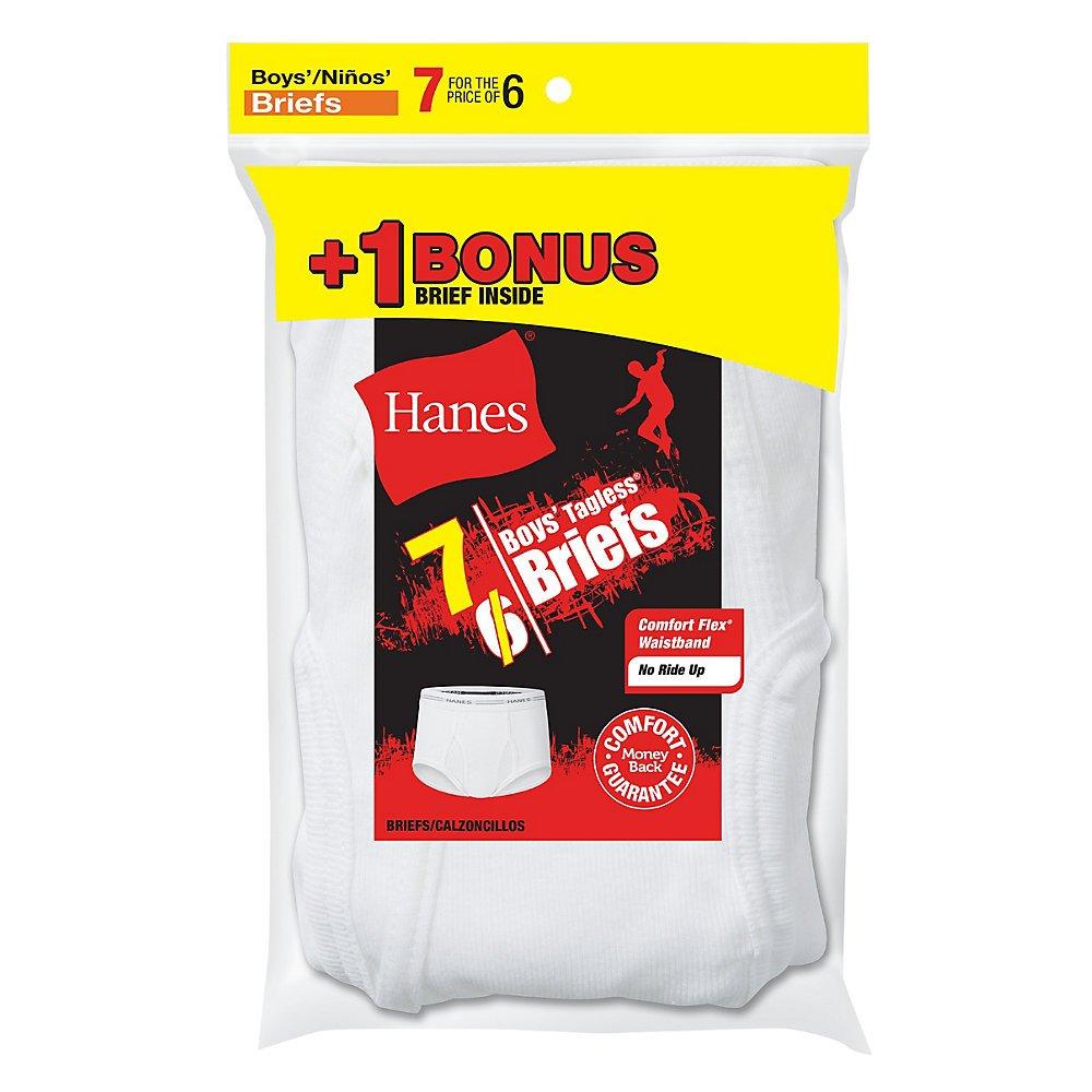 Hanes Boys Tagless White Briefs 7-Pack