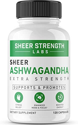 High Potency 2000mg Organic Ashwagandha Root Powder Extract Natural Anti-Stress Mood Thyroid Support Supplement 120 Gluten-Free Non-GMO Veggie Capsules – Sheer Strength Labs