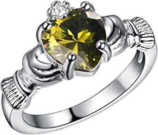JAJAFOOK donne placcatura in argento Sterling 925 Irish Friendship & Love verde oliva con zirconia cubica a forma di cuore anello
