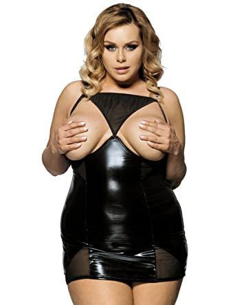 Amazon Com Hugguh Plus Big Size Women Sexy Lingerie Girls Pajamas Faux Leather Black Dress Clothing