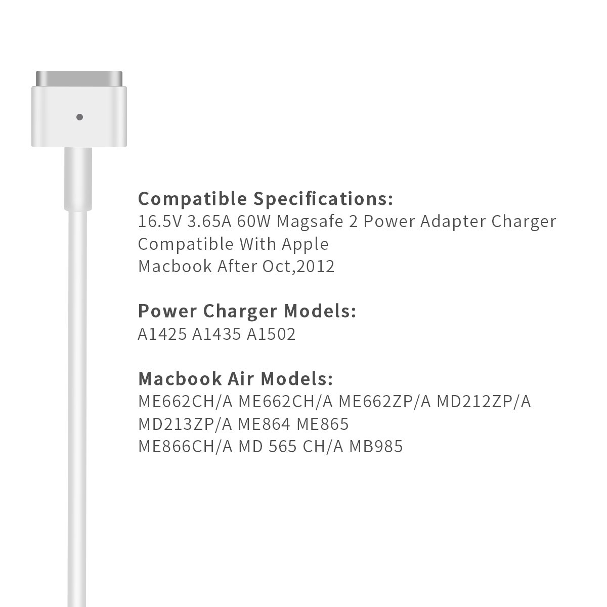 Mac Book Pro Charger, AC 60W Magsafe2 T-Tip Power Adapter Charger for MacBook Pro 13.3'' Retail Package A1425 A1435 A1465 A1502 (Made After Late 2012) by DDSUN (Image #6)
