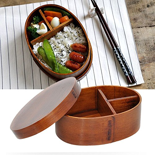 cheerfullus Wooden Bento Lunch Box Reusable Picnic Lunch Carrier Container for Food Fruit Sushi ()