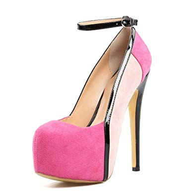 202173e333a Amy Q Platform Pumps Women s Round Toe Ankle Strap Sky High Heels Pink  Extremely Stilettos Ladies