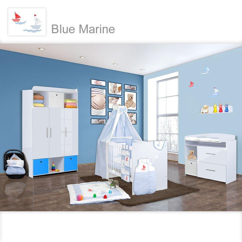Babyzimmer Mexx in Weiss Hochglanz 11 tlg. mit 3 türigem Kl. + Marine Blau